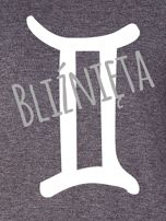 Bluza damska z motywem znaku zodiaku BLIŹNIĘTA ciemnoszara                                  zdj.                                  2