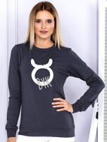 Bluza damska z motywem znaku zodiaku BYK grafitowa                                  zdj.                                  1