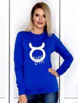 Bluza damska z motywem znaku zodiaku BYK kobaltowa                                  zdj.                                  1
