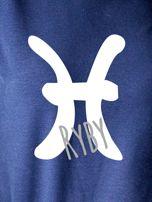 Bluza damska z motywem znaku zodiaku RYBY granatowa                                  zdj.                                  2