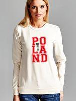 Bluza damska z nadrukiem MADE IN POLAND ecru                                  zdj.                                  1