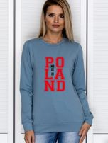 Bluza damska z nadrukiem MADE IN POLAND niebieska                                  zdj.                                  1