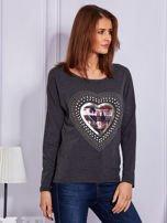 Bluzka ciemnoszara z ozdobnym sercem                                  zdj.                                  5