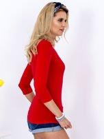 Bluzka czerwona z plecionym dekoltem na plecach                                  zdj.                                  5