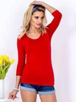 Bluzka czerwona z plecionym dekoltem na plecach                                  zdj.                                  1