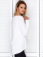 Bluzka damska oversize z długim rękawem ecru                                  zdj.                                  3