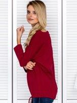Bluzka damska oversize z kieszenią bordowa                                  zdj.                                  5