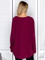 Bluzka damska oversize z kolorowymi dżetami bordowa                                  zdj.                                  2