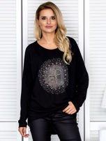 Bluzka damska oversize z kolorowymi dżetami czarna                                  zdj.                                  1