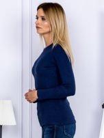 Bluzka damska prążkowana z długim rękawem granatowa                                  zdj.                                  5