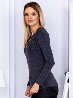 Bluzka damska w prążek z paseczkami przy dekolcie ciemnoszara                                  zdj.                                  3