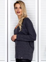 Bluzka damska z kontrastową lamówką ciemnoszara                                  zdj.                                  5