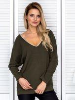 Bluzka damska z kontrastową lamówką khaki                                  zdj.                                  1