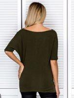 Bluzka damska z lejącym dekoltem khaki                                  zdj.                                  2