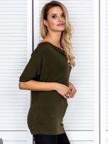 Bluzka damska z lejącym dekoltem khaki                                  zdj.                                  3