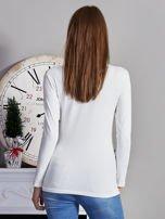 Bluzka damska z napisem z dżetów ecru                                  zdj.                                  2