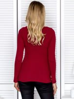 Bordowa bluzka damska ze sznurowanym dekoltem                                   zdj.                                  2