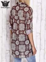 Bordowa koszula w ornamenty kwiatowe                                  zdj.                                  2