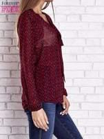 Bordowa koszulowa bluzka mgiełka z wiązanym dekoltem                                  zdj.                                  4
