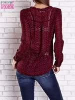 Bordowa koszulowa bluzka mgiełka z wiązanym dekoltem                                  zdj.                                  5