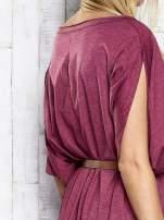 Bordowa melanżowa sukienka oversize z guzikami                                  zdj.                                  8
