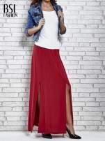 Bordowa spódnica maxi z rozporkami z przodu                                  zdj.                                  2