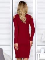 Bordowa sukienka cold arms w prążek                                  zdj.                                  2