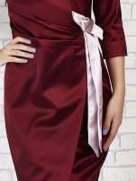 Bordowa sukienka ze srebrną kokardą                                   zdj.                                  5
