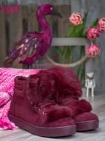 Bordowe sznurowane sneakersy Keris z zamszu z perłową podeszwą                                   zdj.                                  1