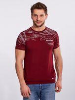 Bordowy bawełniany męski t-shirt z nadrukiem                                  zdj.                                  5
