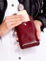 Bordowy portfel i etui na telefon z odpinanym paskiem                                  zdj.                                  3