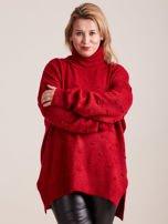 Bordowy sweter z golfem PLUS SIZE                                  zdj.                                  1