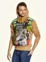 Brązowa bluza męska z kapturem z nadrukiem reggae                                  zdj.                                  5