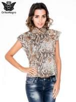 Brązowa bluzka z motywem snake print