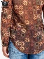 Brązowa koszula w kwiatowe ornamenty                                  zdj.                                  6