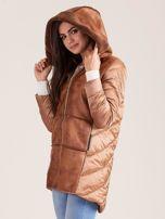 Brązowa kurtka ze skórzanymi wstawkami                                  zdj.                                  5