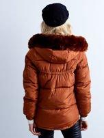 Brązowa kurtka zimowa pikowana                                  zdj.                                  2
