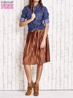 Brązowa plisowana spódnica midi