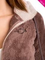 Brązowa polarowa bluza miś z kapturem z uszkami