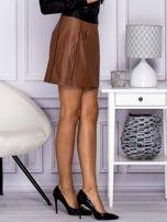 Brązowa skórzana spódnica mini z kieszeniami                                  zdj.                                  5