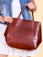 Brązowa skórzana torba damska z ozdobnymi okuciami                                  zdj.                                  1