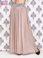 Brązowa spódnica maxi z wyszywanym paskiem                                  zdj.                                  1