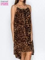 Brązowa sukienka w panterkę na złotych ramiączkach                                  zdj.                                  3