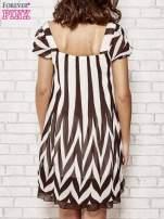 Brązowa sukienka w paski z bufiastymi rękawkami                                  zdj.                                  4
