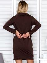 Brązowa sukienka z wstążkami                                   zdj.                                  2