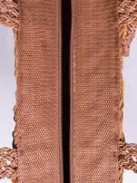 Brązowa torba koszyk plażowy z frędzlem