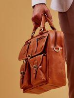 Brązowa torba męska z odpinanym paskiem                                  zdj.                                  6
