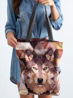 Brązowa torba z nadrukiem wilka                                  zdj.                                  3