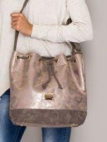 Brązowa torba ze ściągaczem                                  zdj.                                  1