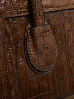Brązowa trapezowa torba miejska z efektem skóry krokodyla                                  zdj.                                  4